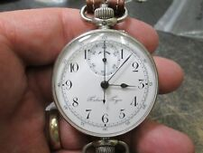EARLY LARGE SIZE SWISS TABEIV TYPE  chronograph MENS Running Wristwatch WIT BAND