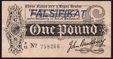 "Bradbury £ 1 del Tesoro billete forjado/falsificación alemán ""falsifikat"" Sello"