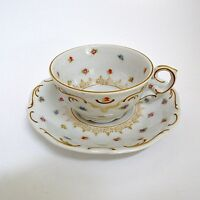 Schumann Demitasse Cup & Saucer Tiny Scattered Flowers Gold Scrolls Bavaria