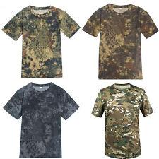 Men's Army Camo Camouflage Short Sleeve Shirt Hunting Fishing T-shirt Tee Tops