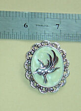 Vintage Scarf Ring or Clasp Gilt & Faux Mother of Pearl Bird of Paradise 1960s