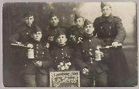 BELGIUM SOLDIERS PLATOON WW1 MILITARY ANTIQUE PHOTO RPPC POSTCARD