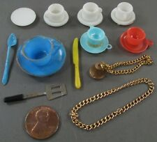 Vintage 60's Mixed Lot Doll Cup Saucer Chain Necklace Knife Spatula Utensil Bell