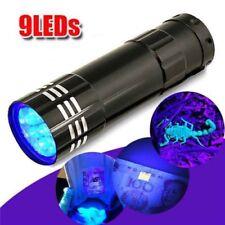 Mini Aluminio UV Ultra Violeta 9 LED LINTERNA LUZ ULTRAVIOLETA Lámpara GLITZ