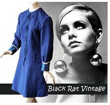Vintage 1960s Navy Blue Drop Waist MOD Scooter SKA Twiggy Mini Dress - UK10