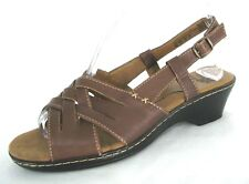 I Love Comfort Sandals Shoes Sz 8 Slingback Strappy Wedge Heels Brown Leather 8M