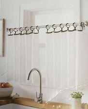 "Threshold Sheer Cafe Curtain Set 42"" x 24"" Pair of 2 Panels White Gray w/ Rings"