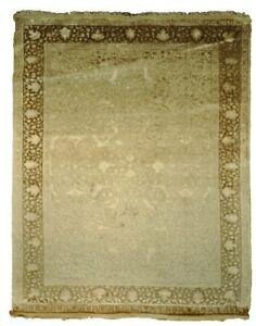 6x9 Plush Soft Raised Viscose Pile Wool & Silk Handmade Transitional Rug