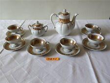 Oscar Schlegelmilch Porzellan Mocca Service Kaffeeservice 14 tlg. GOLD appricot