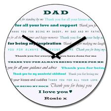 Personalised Thank You Dad Wall Clock - Add Name Fathers Day Gift 30cm