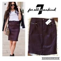 7 FOR ALL MANKIND burgundy coated denim zipper detail pencil skirt -28-NWT!
