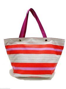 Fossil Key Per Tote Shopper Handbag Multicolor Striped New!