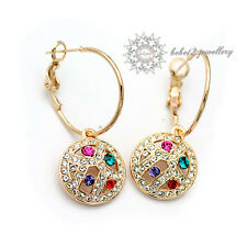Multicolor Crystal Dangling Earring/ Swarovski Elements/Rose Gold/RGE010G