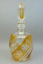 Vintage Czech Bohemian Art Glass Amber Cut to Clear Wine Liquor Decanter Bottle