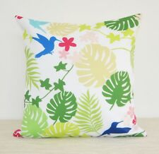 "WATERPROOF OUTDOOR Throw Pillow cover 18"" Tropical Green Leaves Birds Cushion"
