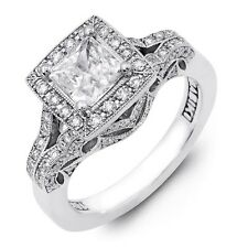 Gorgeous Designer Princess & Asscher Cut Diamond Semi Mount Halo Design PLATINUM