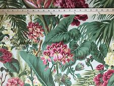 STROHEIM & ROMANN JUNGLE PALMS GREEN #D4057 Tropical Floral Fabric BY THE YARD
