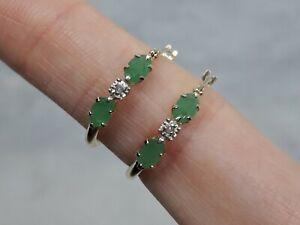 Beautiful Solid 9ct Yellow Gold Hoop Earrings Oval Emerald Diamond - Not Scrap