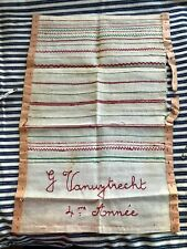 EARLY AMERICAN ANTIQUE SAMPLER SHOWING DIFFERENT STICHES PRACTICE  linen signed