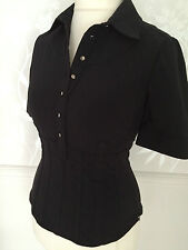 Karen Millen Stretch Black Stretch Shirt Blouse Top Silver KM Buttons UK 12