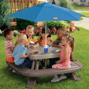 Little Tikes PICNIC TABLE w/ Umbrella for 6 Kids Outdoor Party New