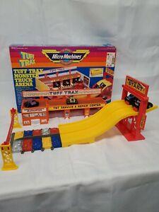 VINTAGE 1989 MICRO MACHINES TUFF TRAX MONSTER TRUCK ARENA WITH TRUCKS UNDERTAKER