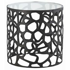 """22.5"""" Round Accent Table Modern Aluminum Glass Marble Bronze Clear Black Yes"""
