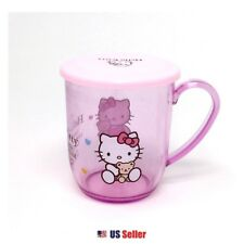 Sanrio Hello Kitty Light Pink Transparent PE Handle Cup with Lid Cap