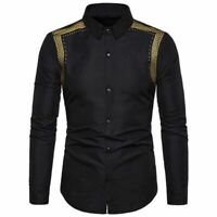 T-shirt casual Fashion Men's Slim Tops Luxury Dress Long Sleeve Fit floral