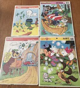 Vintage Frame Tray Puzzles Lot Minnie Mouse Casper Yogi Bear Looney Tunes 70s+