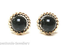 9ct Gold Black Onyx rope edge stud earrings Gift Boxed Made in UK