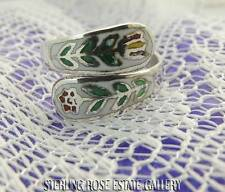 VINTAGE SIAM FLOWER ENAMEL BY PASS Sterling Silver 925 Estate RING size 5 to 7.5