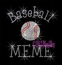 Baseball MEME - C Rhinestone Iron on Transfer Hot Fix Bling Sports School - DIY