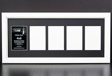 5 Opening Glass Face 10x24 White Picture Frame Holds 4x6 Media Black Collage Mat
