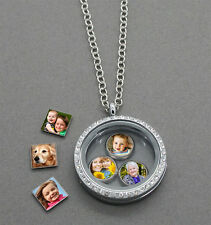 Living-Memory-Floating-Charms-Glass-Round-Locket-Necklace-Free Photos Charm