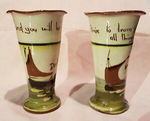 VINTAGE PAIR OF TORQUAY MOTTO WARE TALL VASES SHIPS - DEAL & SEAFORD