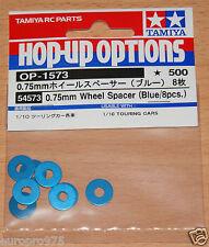 Tamiya 54573 0.75mm Wheel Spacer (Blue/8 Pcs.) (TRF417/TRF418/TRF419/TA06/TB04)