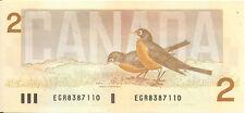 Canada 1986 $2 Dollars Note  Bonin-Thiessen Prefix EGR UNC