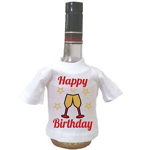 Happy Birthday Mini T-Shirt Geburtstag Geschenk Fun Spass Wein Sekt Flasche Deko