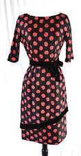 New Old Stock Mort Schrader Designer Red Rose Black Silk Asymmetrical Dress 10P
