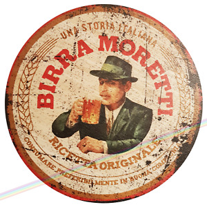 Circle Wooden Signs - BIRRA MORETTI Mancave Vintage Retro Wood Bar Pub Wall Sign