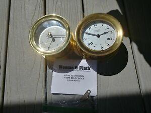 Weems Plath Brass Key Clock & barometer