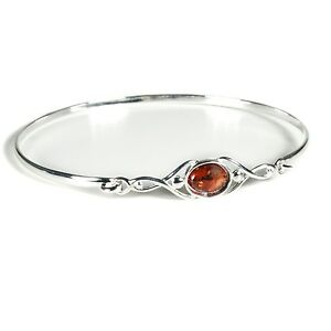 Silver Celtic Wish Bangle with Amber