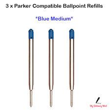 3 x Parker Compatible Ballpoint Refill BLUE Biro Pens Medium Ball Pen Refills