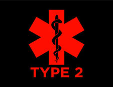 """DIABETES TYPE 2 VINYL WINDOW DECAL RED 5X6"""" MEDICAL ALERT BLOOD SUGAR DIABETIC"""