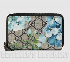GUCCI blue BLOOMS GG Supreme Canvas & black Leather POUCH Case wallet NIB Authen