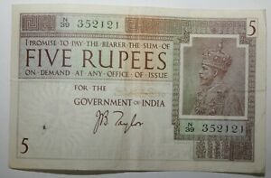 1917 to 1930 India 5 Rupees Bank Note Approaching Very Fine Condition