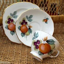 ROYAL VALE BONE CHINA 1960s TRIO - ORCHARD FRUITS DESIGN 8225 - MULTI LISTING