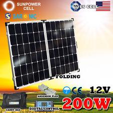 200W 12V Folding Solar Panel Kit Camping Caravan Boating Home Mono Charging