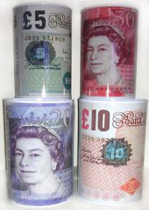 £5 £10 £20 £50 Pound Note Design Kid Money Box Tin Saving Cash Money Coins PACK2